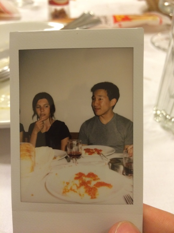 Sardinian cuisine with Francesca and friends, captured in full Polaroid glory.