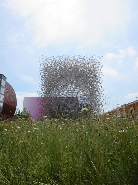 The UK beehive pavilion. The pavilion is connected to an actual beehive in Nottingham: In the pavilion, speakers and LEDs generate noise to reflect the real-time activity of bees in the actual hive.